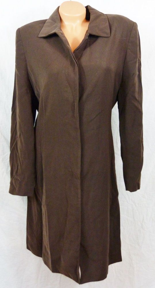 Amanda Smith Jacket Suit Sz 12 Chocolate Brown Long Suit Career Blazer Tunic #AmandaSmith #Blazer #Career