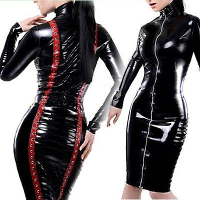 women elegant faux leather dress wet look pvc midi evening