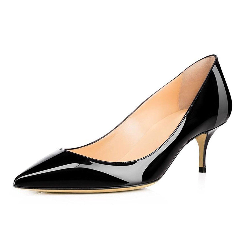 Women Pointed Toe Kitten Heels Slip On Office Pumps Classic Dress Shoes For Party Wedding Black Ce17yycaxsg Footwear Design Women Heels Kitten Heels