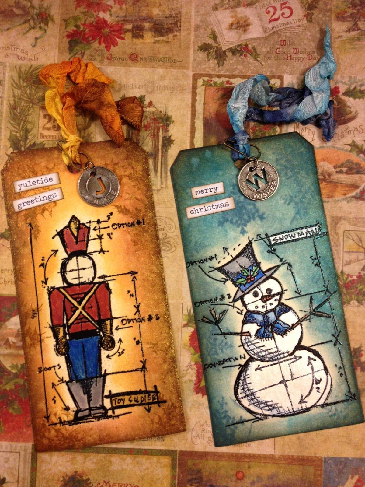 "tags using Tim Holtz's Stampers Anonymous ""Christmas Blueprints"" set, snowman and toy soldier."