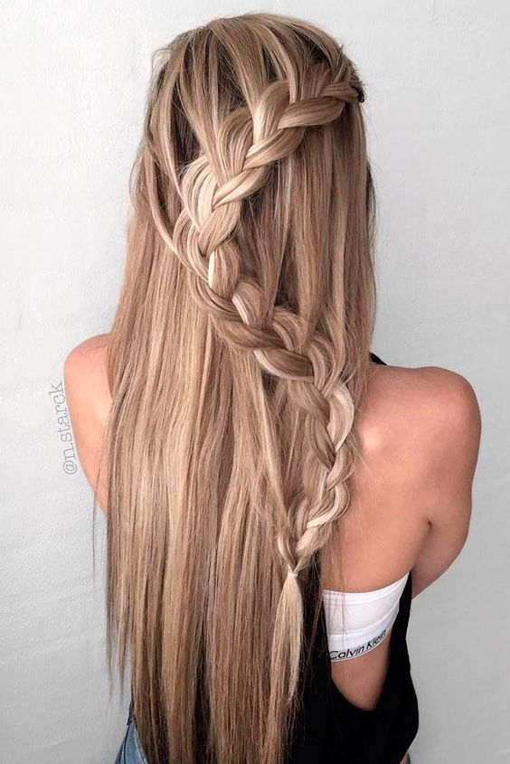 Easy Stylish Braided Hairstyles For Long Hair Inspired Creative Braided Hairstyle Hair Styles Braids For Long Hair Straight Hairstyles