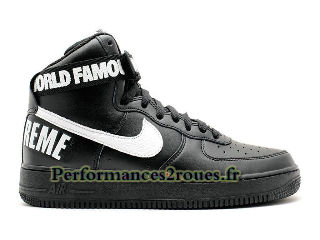 new style 3e06b 8b116 Nike X Supreme Air Force 1 High GS Chaussures Nike Officiel Pas Cher Pour  Femme Noir Blanc 698696-010G