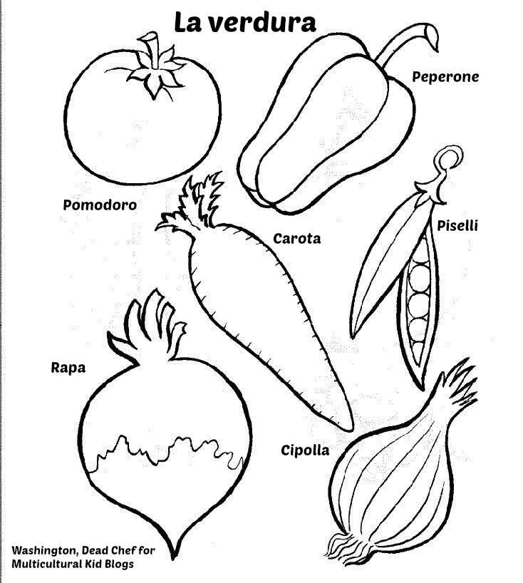 multilingual printables fruits and vegetables in 7 languages coloring pages