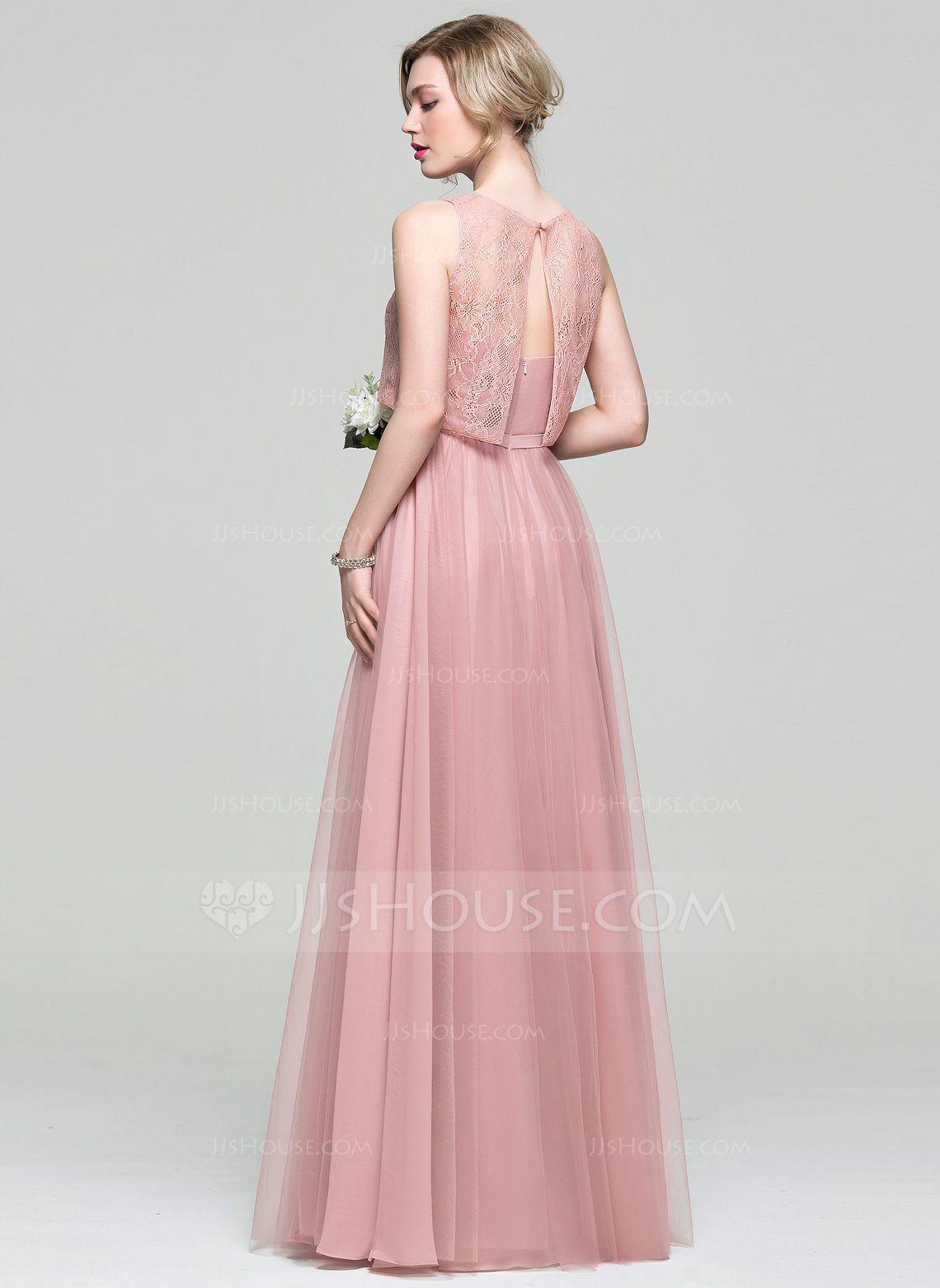 A-Line/Princess Sweetheart Floor-Length Tulle Bridesmaid Dress ...
