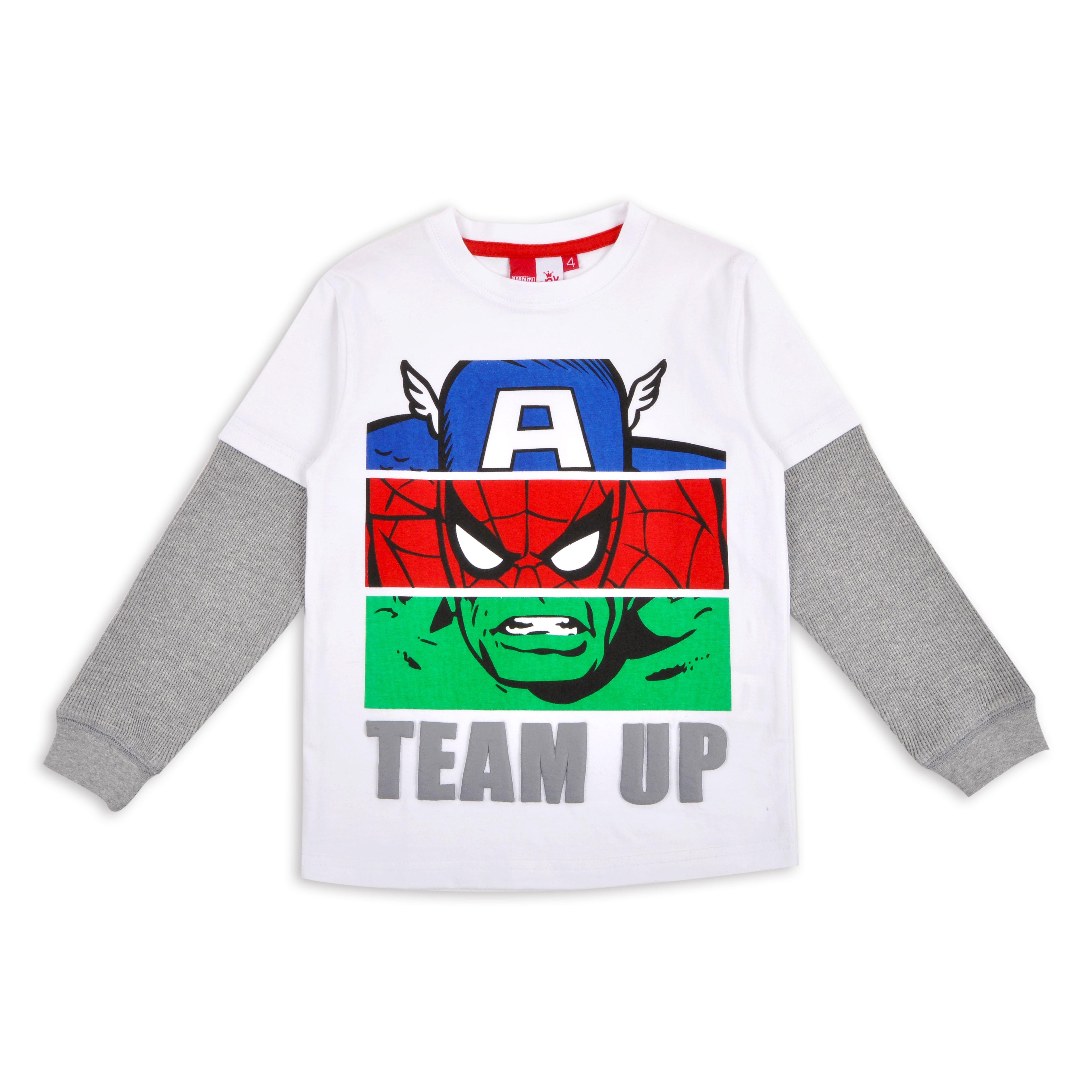 aef17464ad2 Franela EPK para niño blanca con estampado de superheroes