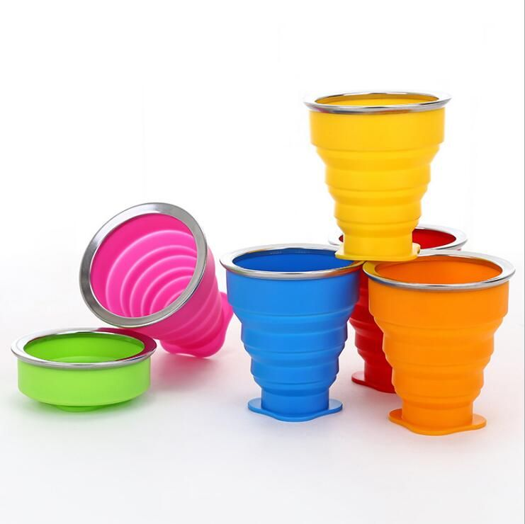 6 Foldable Water Bottle Cups Bag Folding Plastic Collapsible Outdoor Sport Hot