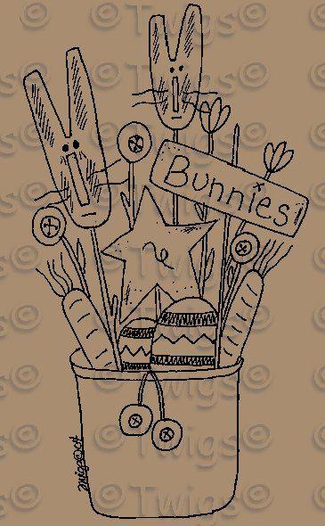 Primitive Stitchery Patterns   ... Primitive Bunny Rabbits with Flowers Stitchery E Pattern (Powered by