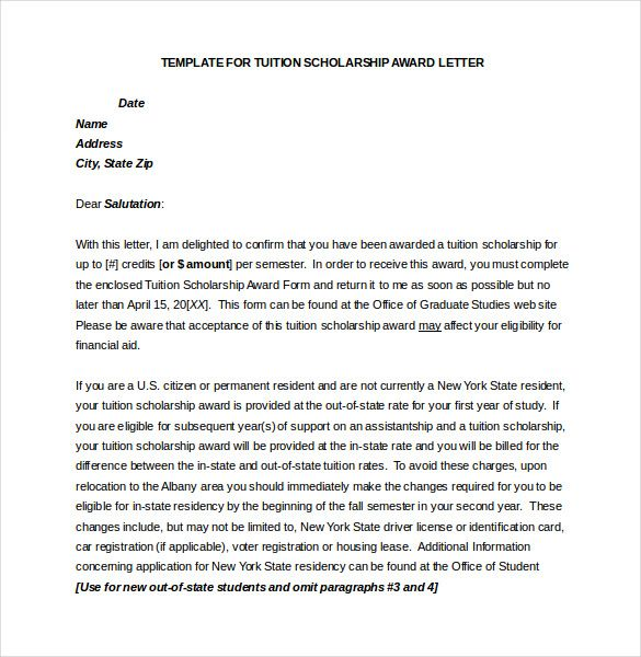 Award Letter Template Free Word Pdf Documents Download Thank You