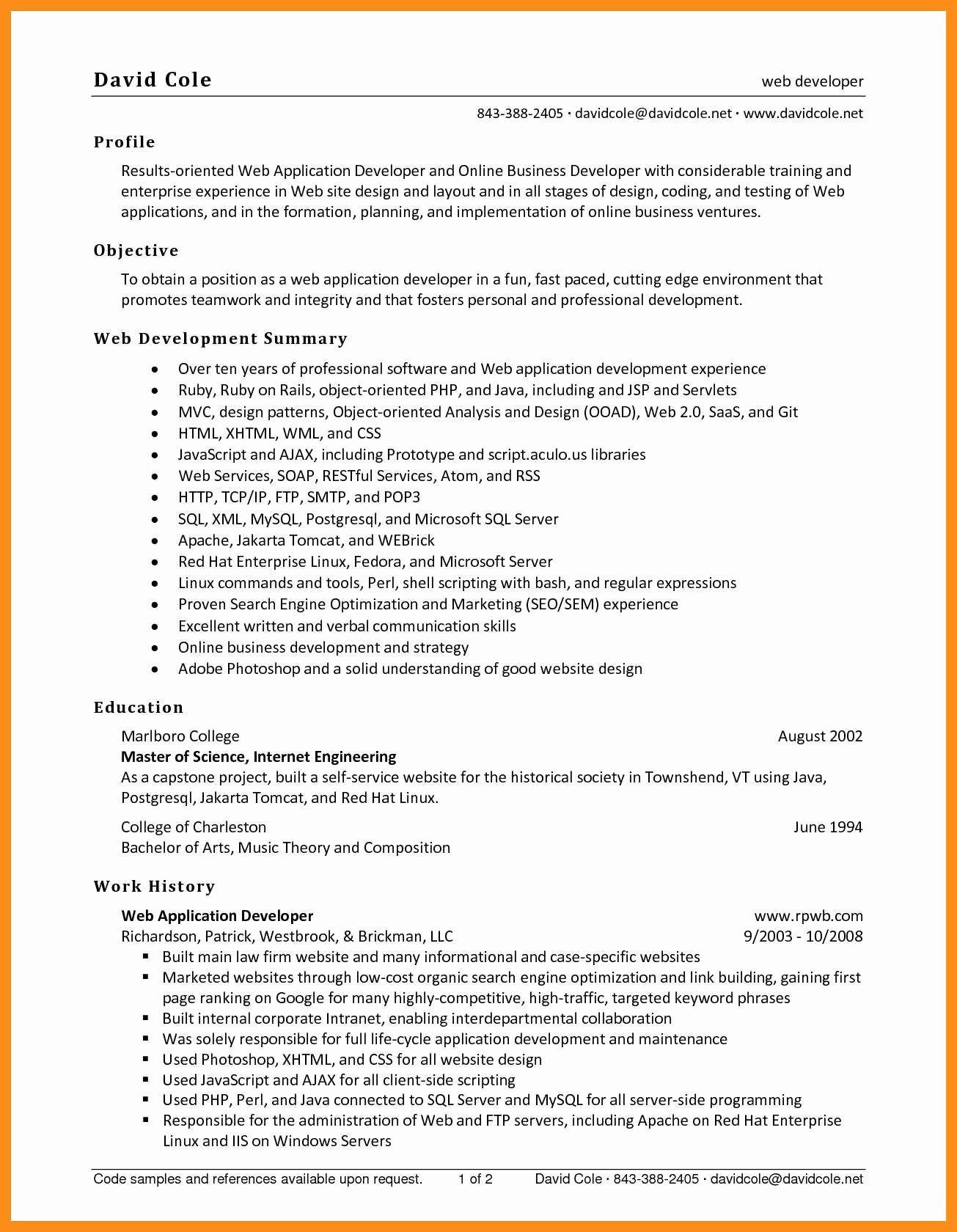 Entry Level Web Developer Resume New 9 10 Entry Level Net Developer Resume Job Resume Examples Resume Web Development