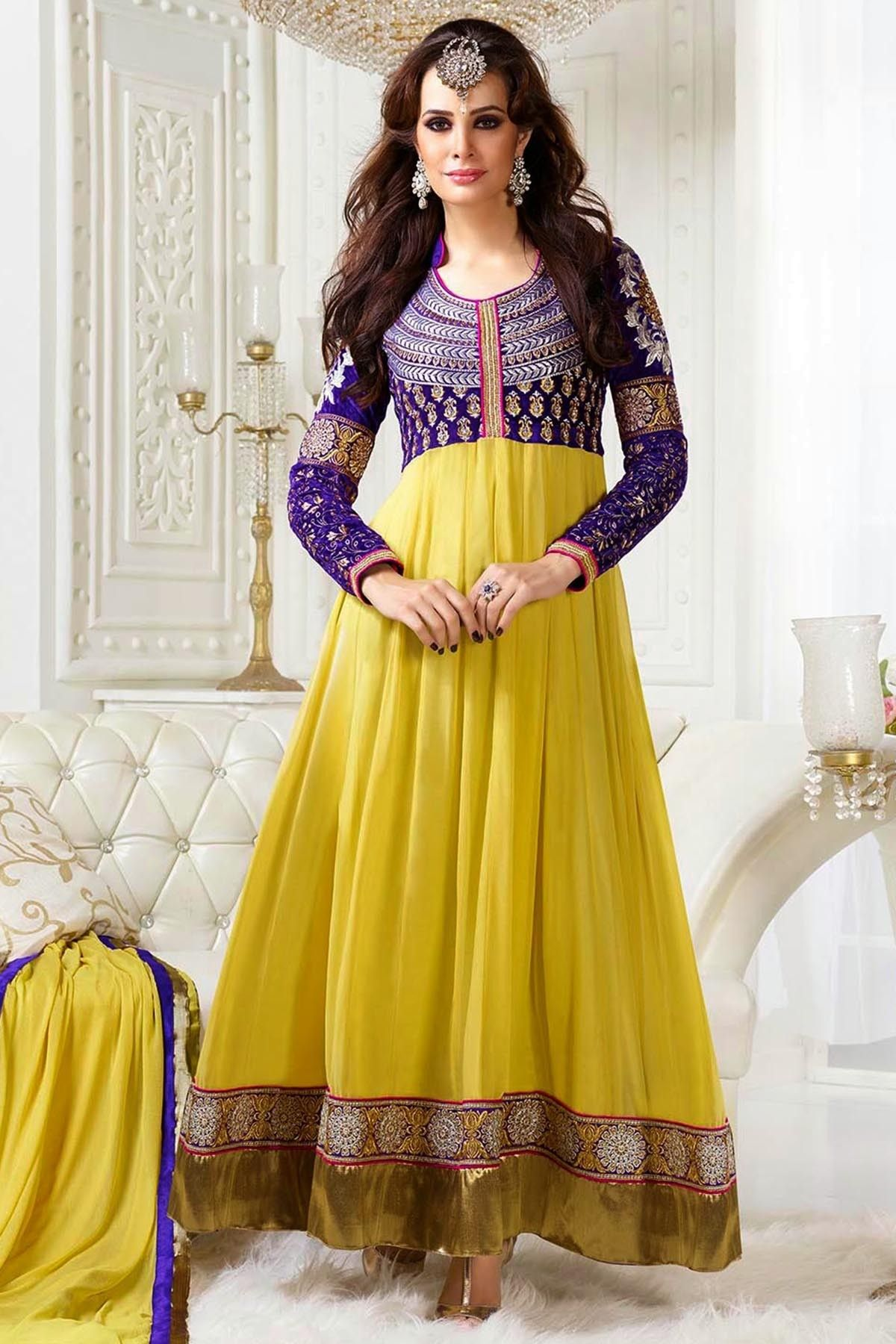 Presenting Yellow And Purple Faux Georgette Anarkali Suit With Embroidered Lace Work Order