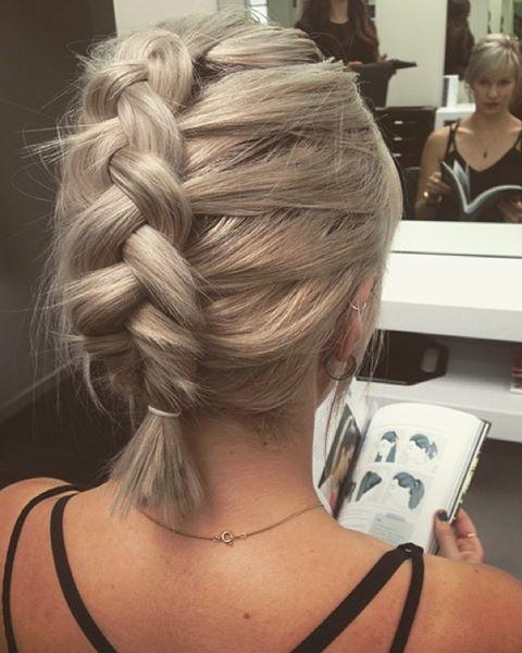 Erica Johansen On Instagram Rustic Dutch Braids Can Look Cool On Short Hair Too Braids For Short Hair French Braid Short Hair Short Hair Styles