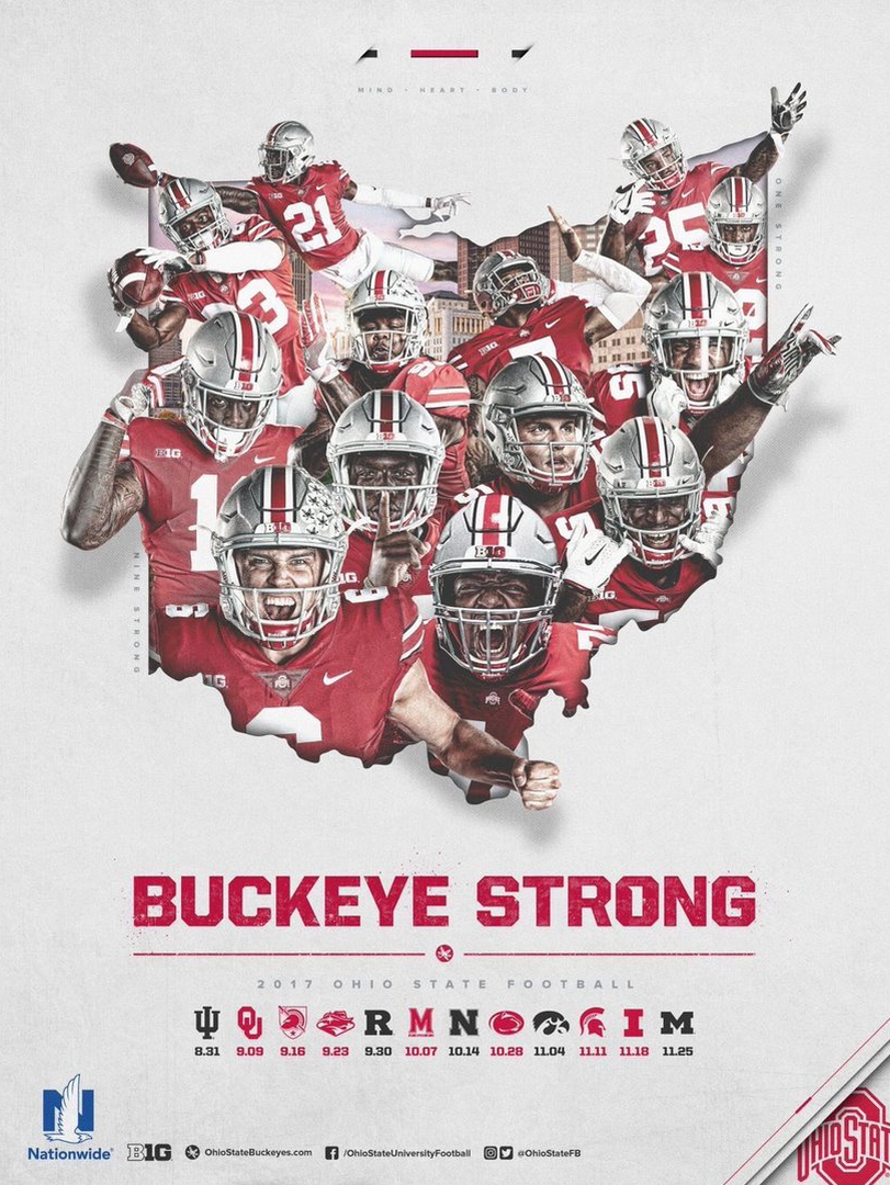 2017 Ohio State Football Scheduel Poster By Samuel