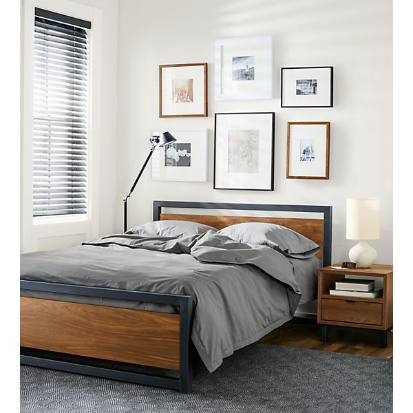 Piper Wood Panel Bed in Natural Steel | Steel, Bedrooms and Woods