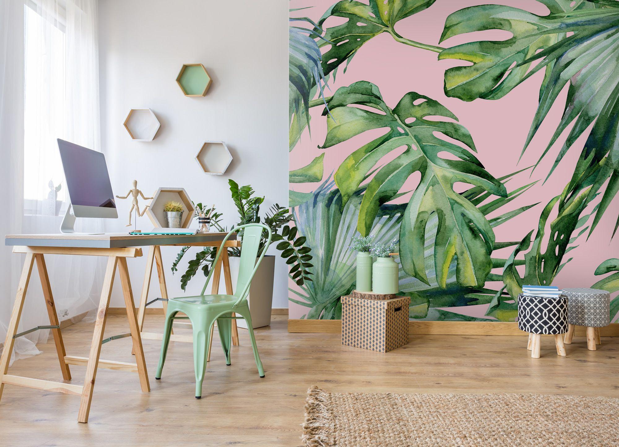Pink Jungle Wallpaper Wallsauce Uk Feature Wall Wallpaper Contemporary Wallpaper Designs Wallpaper Living Room