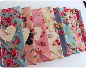 Bridesmaid Cards set of 5, Wedding Invitation, bridesmaid reveal. Maid of honour, Matron of Honour, floral fabric envelopes
