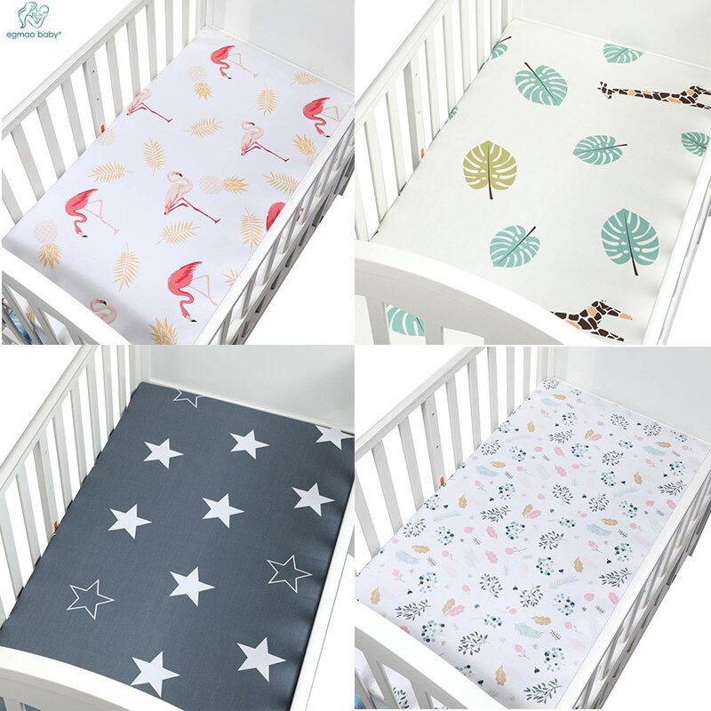 Soft Breathable Newborn Baby Crib Fitted Sheet Baby Bed Mattress Cover Potector Cartoon Newborn Bedding For Cot Size 12065cm Modern
