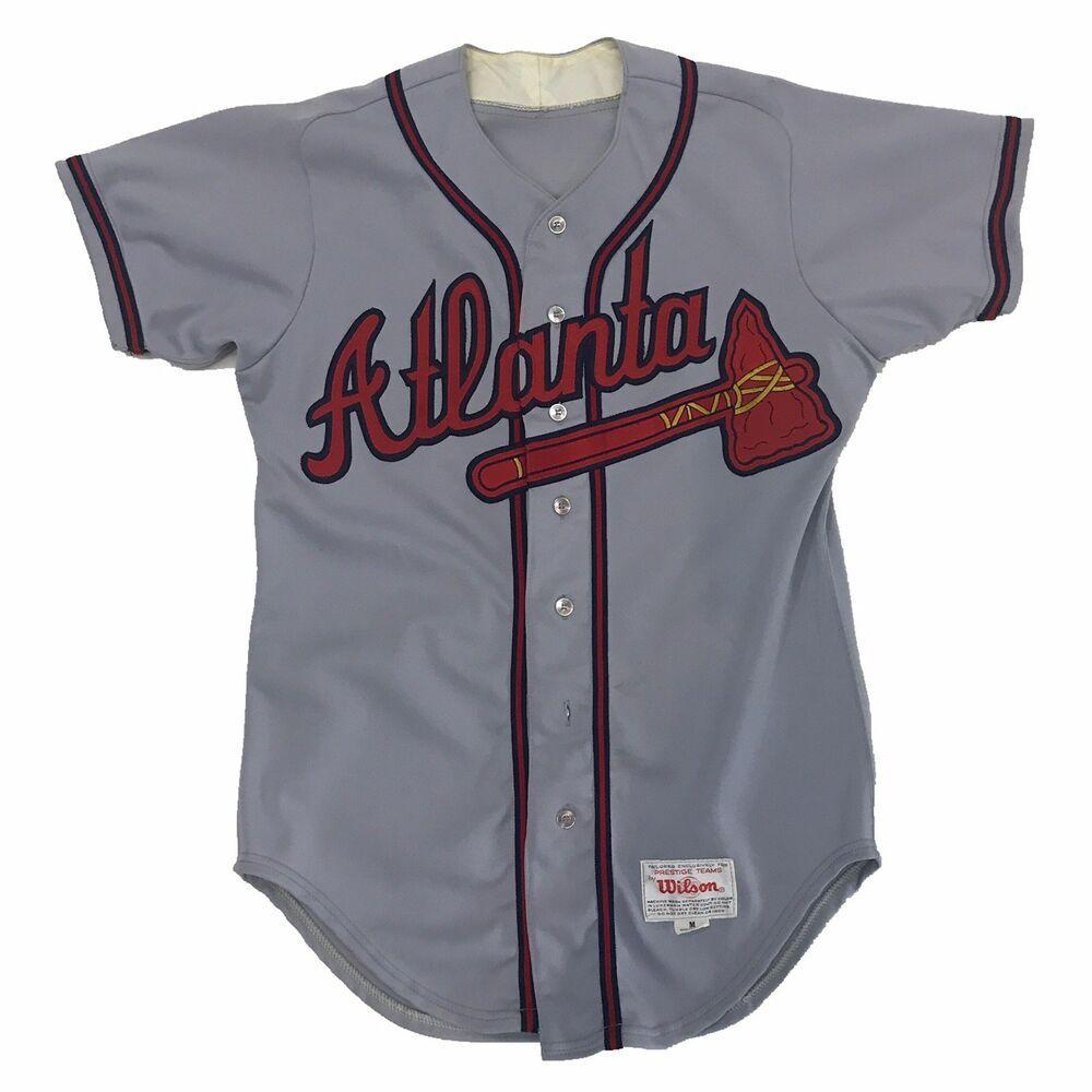 Wilson Atlanta Braves Jersey Gray Grey 3 Baseball Away Medium Sport Ebay Atlanta Braves Jersey Braves Jersey Atlanta Braves