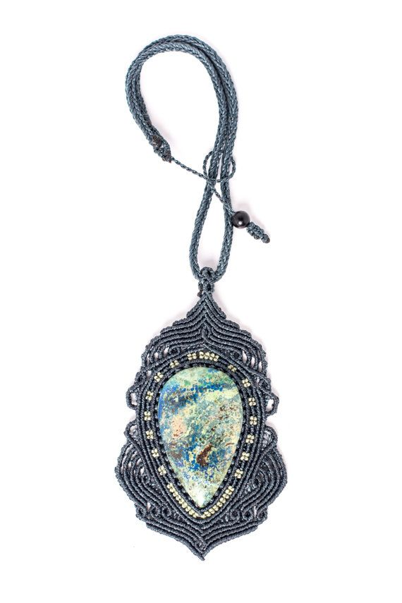 Macrame azurite pendant macrame necklace gemstone by amonithe macrame azurite pendant macrame necklace gemstone by amonithe mozeypictures Images