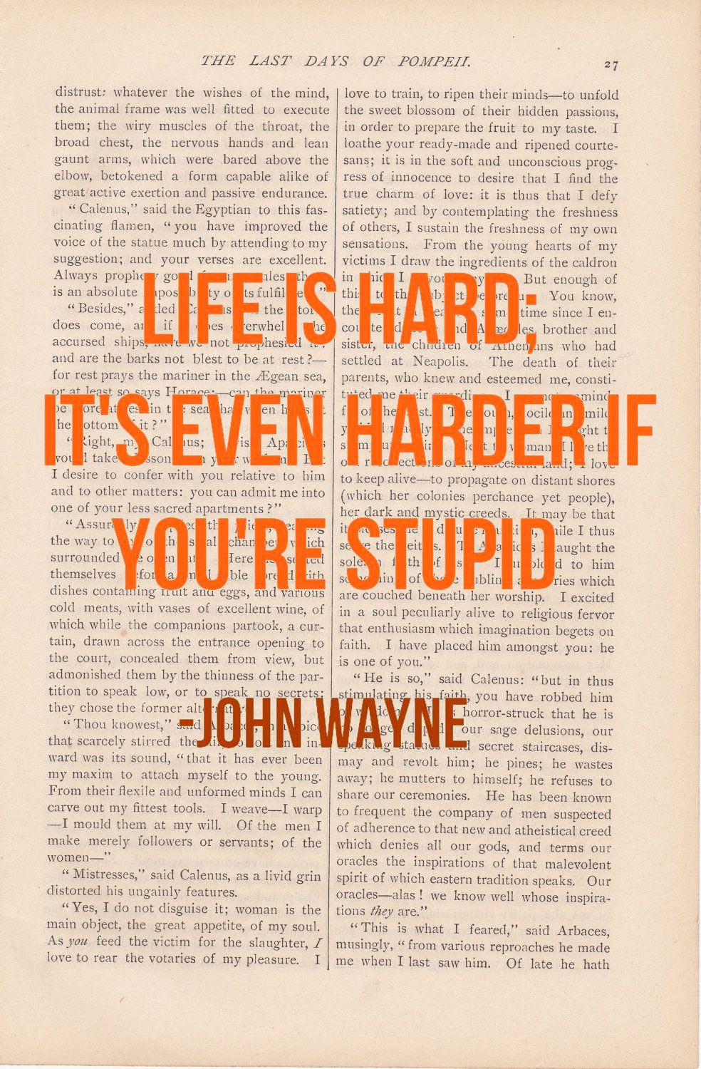 Motivational Print   LIFE IS HARD John Wayne   Funny Inspirational Quote  Decor. $9.00,