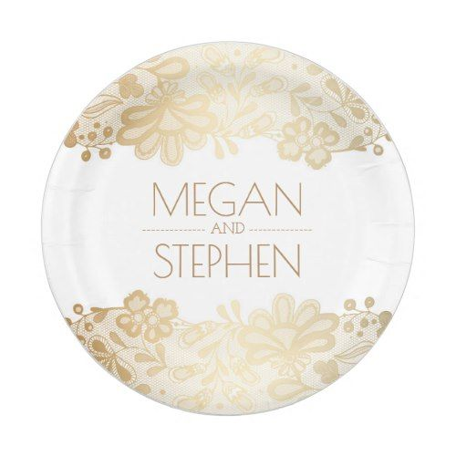 Gold and White Lace Floral Elegant Wedding Paper Plate  sc 1 st  Pinterest & Gold and White Lace Floral Elegant Wedding Paper Plate | Elegant ...