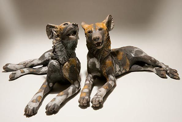 Clay Wild Dog Sculptures