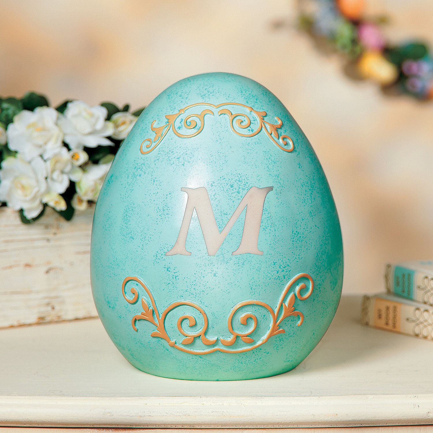 Monogrammed Easter Egg - OrientalTrading.com - Personalize this blue Easter egg décor with a one-letter monogram to create an Easter decoration you'll treasure for years to come or give one as an Easter gift.