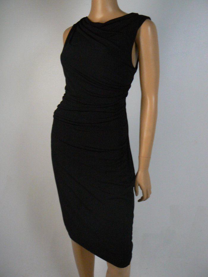 Dknyc By Dkny Black Matte Jersey Cutout Ruched Sheath Dress S 4 6