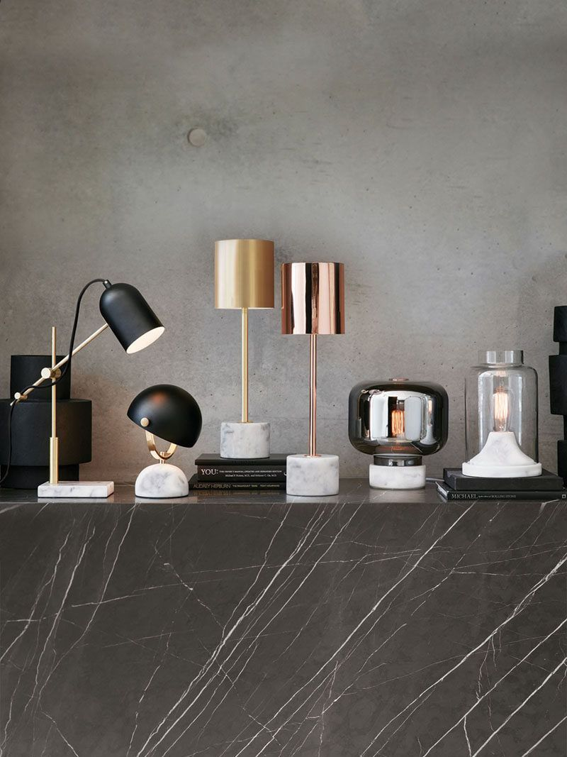 Pin by tuba tank on home2 pinterest marbles spaces and lights the lowe table lamp in white marbleblackbrass has a small dome base and matching shade that tilts up and down to shed the light wherever you require it geotapseo Gallery