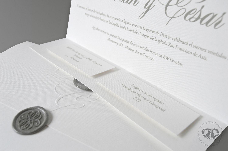 Timeless elegant classy wedding invitation. White and grey. Silver ...