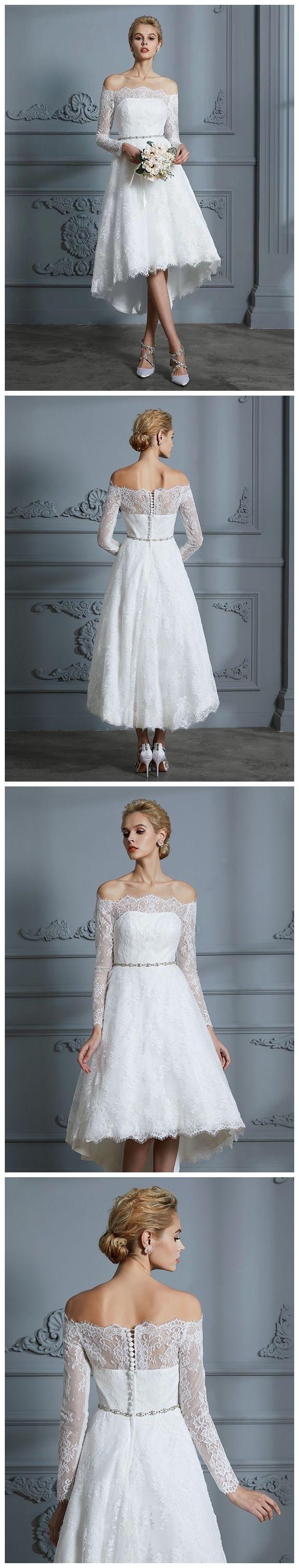 Off the shoulder tea length wedding dresses lace high low wedding