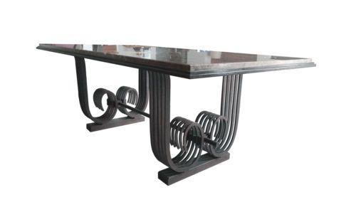 raymond subes rare table de salle a manger en fer forge et. Black Bedroom Furniture Sets. Home Design Ideas