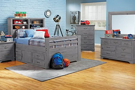 Soft Blue Themes And Classic Wood Grey Beds In Kids