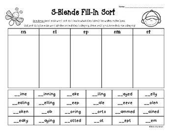 s blends fill in sort sn sl sm sp st students kindergarten and teacher pay teachers. Black Bedroom Furniture Sets. Home Design Ideas