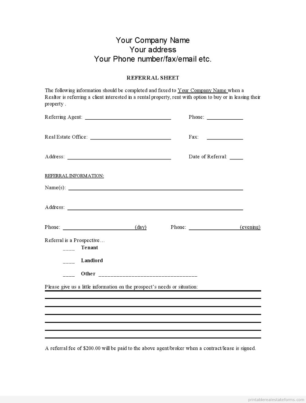 Sample Printable Referral Sheet For Realtors Form Latest Sample