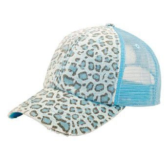 2494c7b2476 MG Women s Print Mesh Canvas Trucker Baseball Cap Hat (Blue Leopard) at Amazon  Men s Clothing store  Baseball Caps