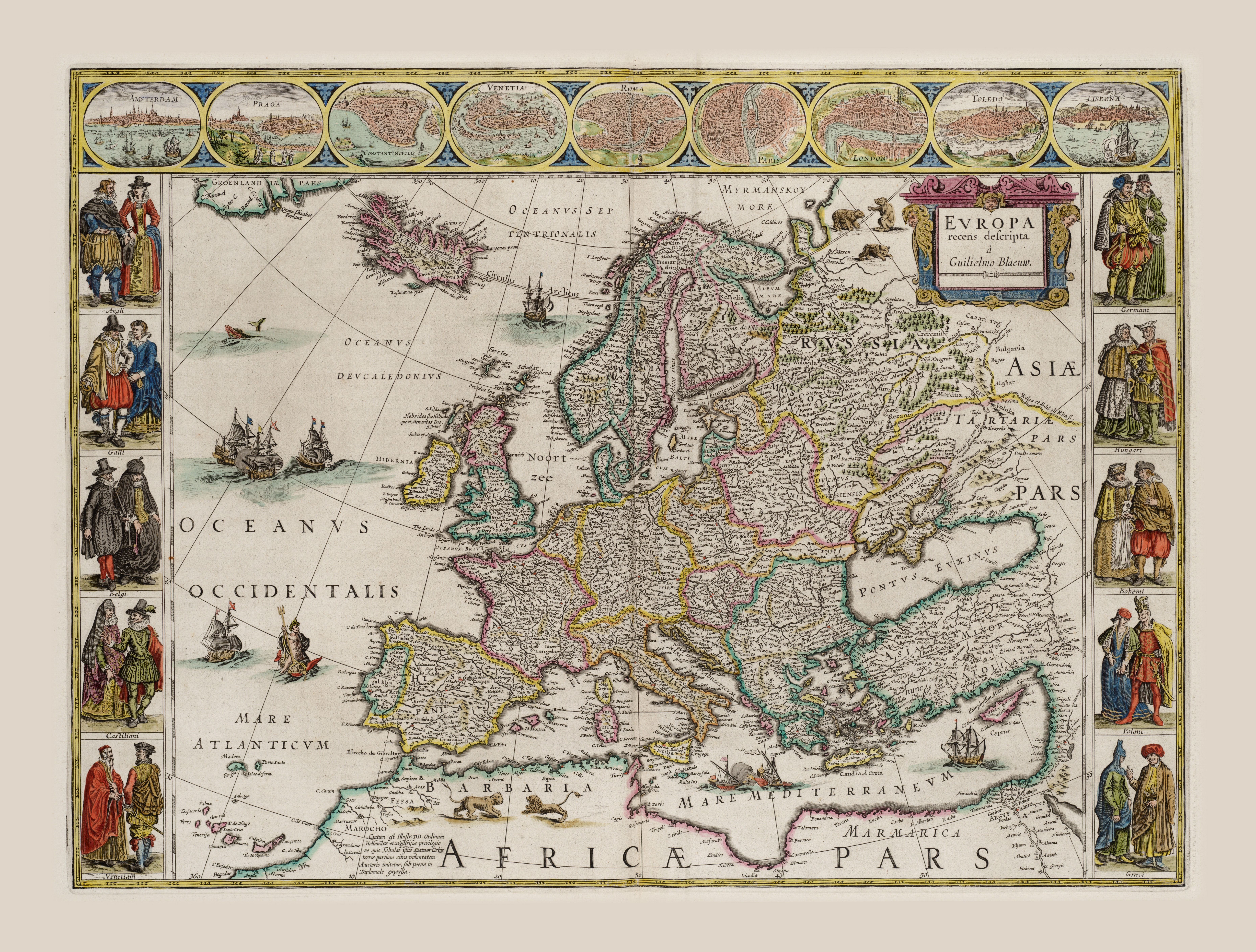 Stara Mapa Europy Z Xvii Wieku Mapa
