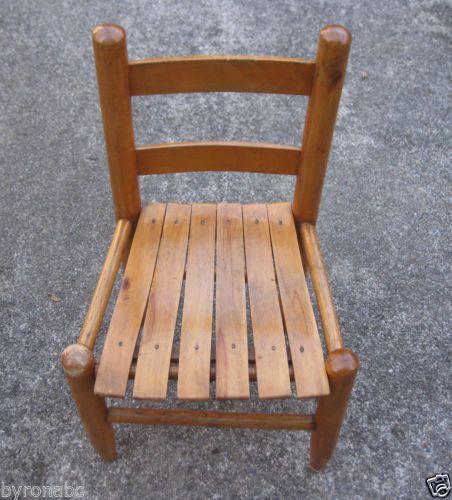 Slat Seat Ladderback Oak Chair Childrens Kids Spindles Wood Wooden