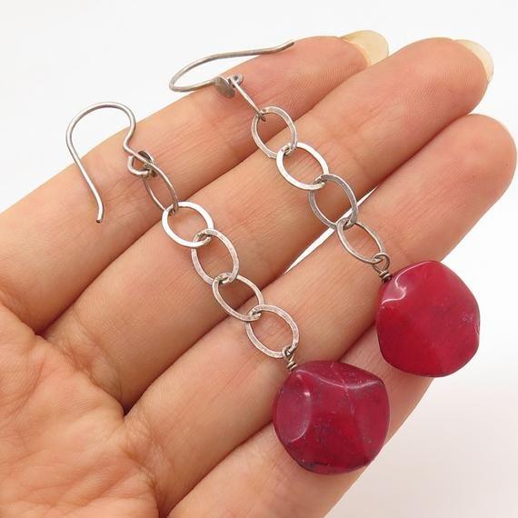 Red Jasper Gemstone Sterling Silver Drop Earrings