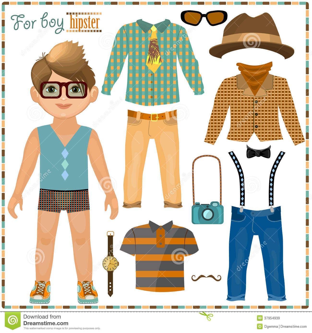 Paper doll with a set of clothes. Cute hipster boy ...