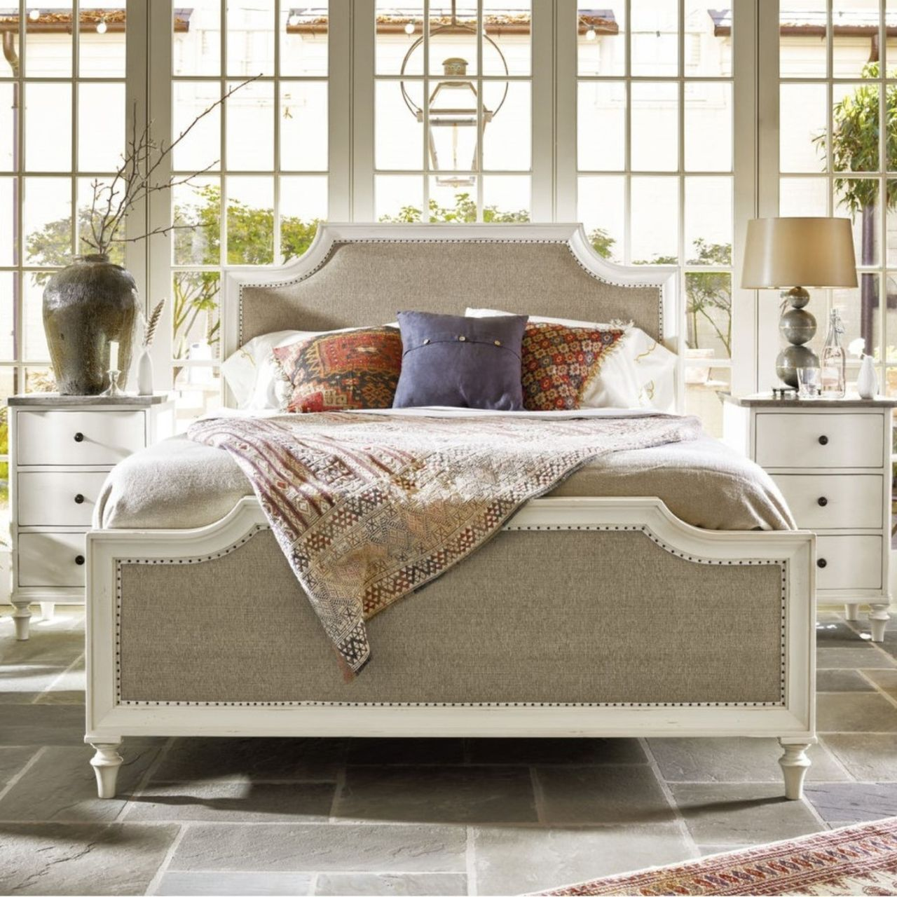 French Coastal White Upholstered Queen Bed Frame (With