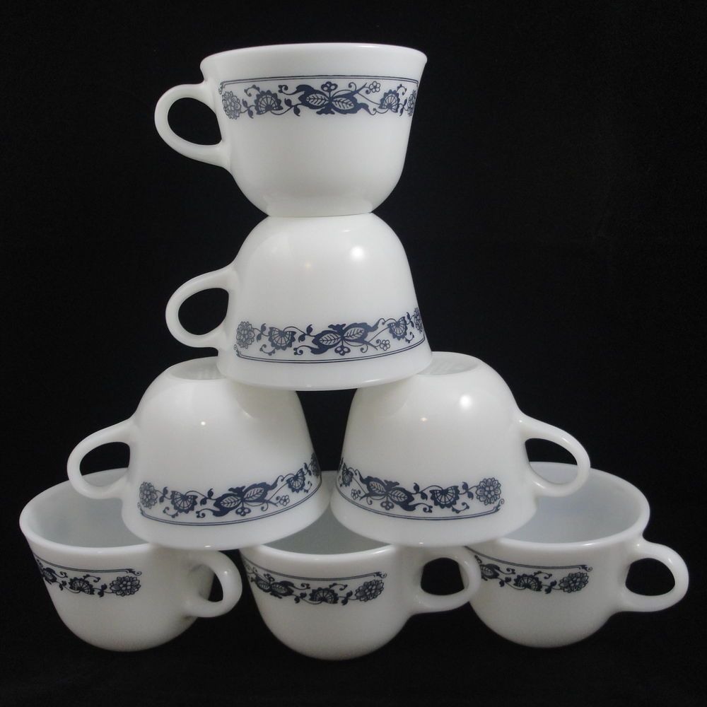 Corning Milk Glass Old Town Blue Onion Coffee Tea Cups C Handle 7 Replacements #Corning