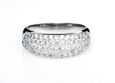 1 18ct Diamond Ring White Gold Pave Wedding Band Vintage Style Engagement Unique