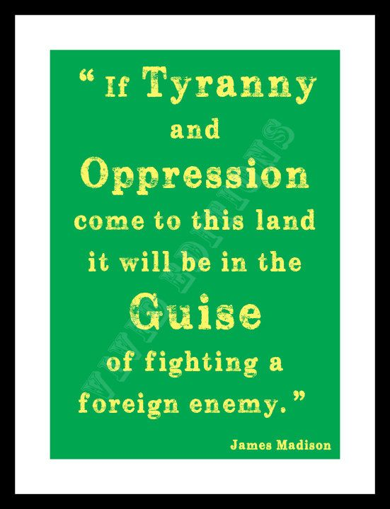 """Political Quote """"Guise Foreign Enemy..."""", James Madison -- Typography Word Art Print -- by VIVIDEDITIONS"""