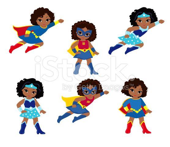African American Cute superhero girl vector clip art set. royalty ...