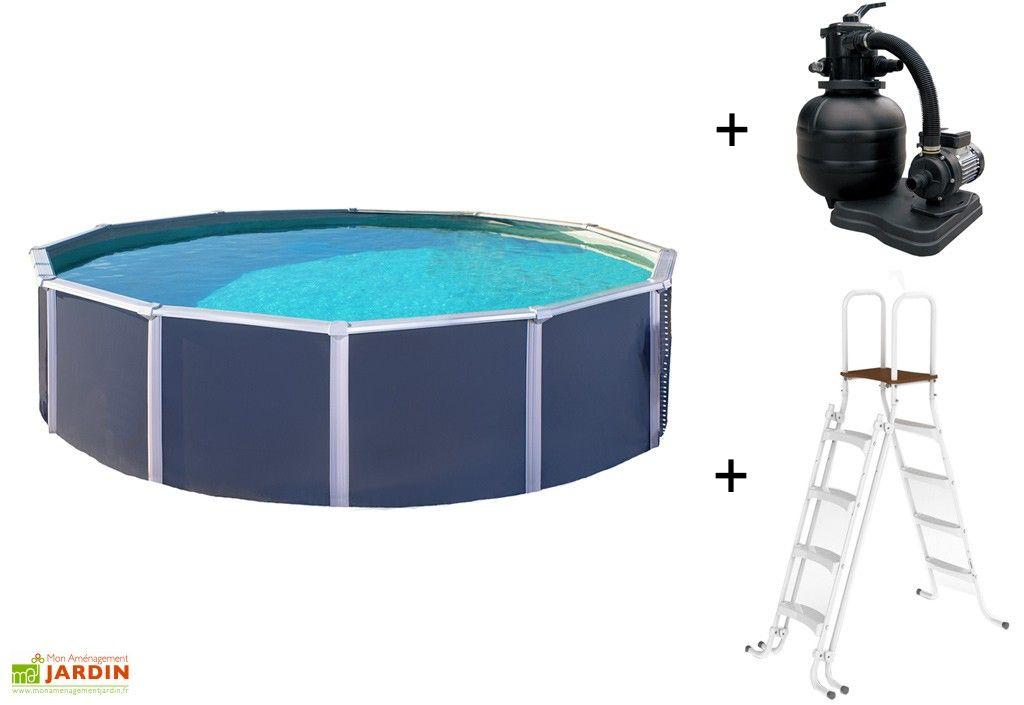piscine en metal anthracite hors sol