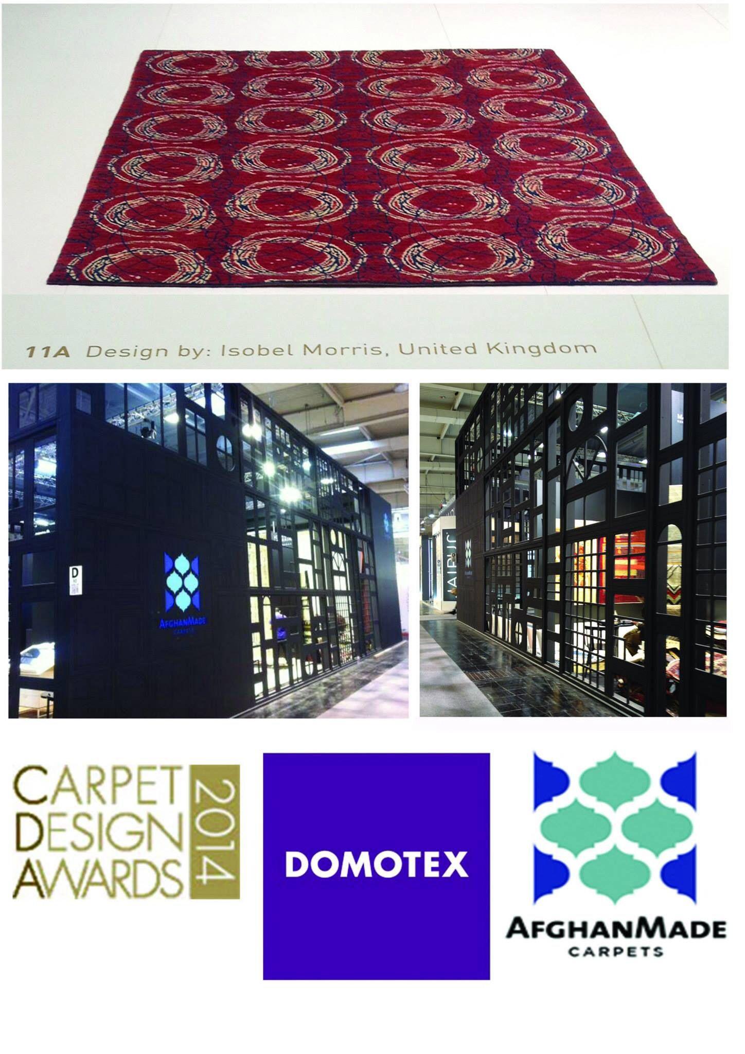 'Monarch' carpet design. Isobel Morris finalist for AfghanMade, CArpet Design Awards at DOMOTEX 2014.