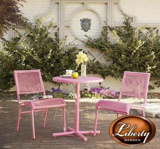 Bixby 3 Piece Bistro Set, Pink   Outdoor patio furniture ...