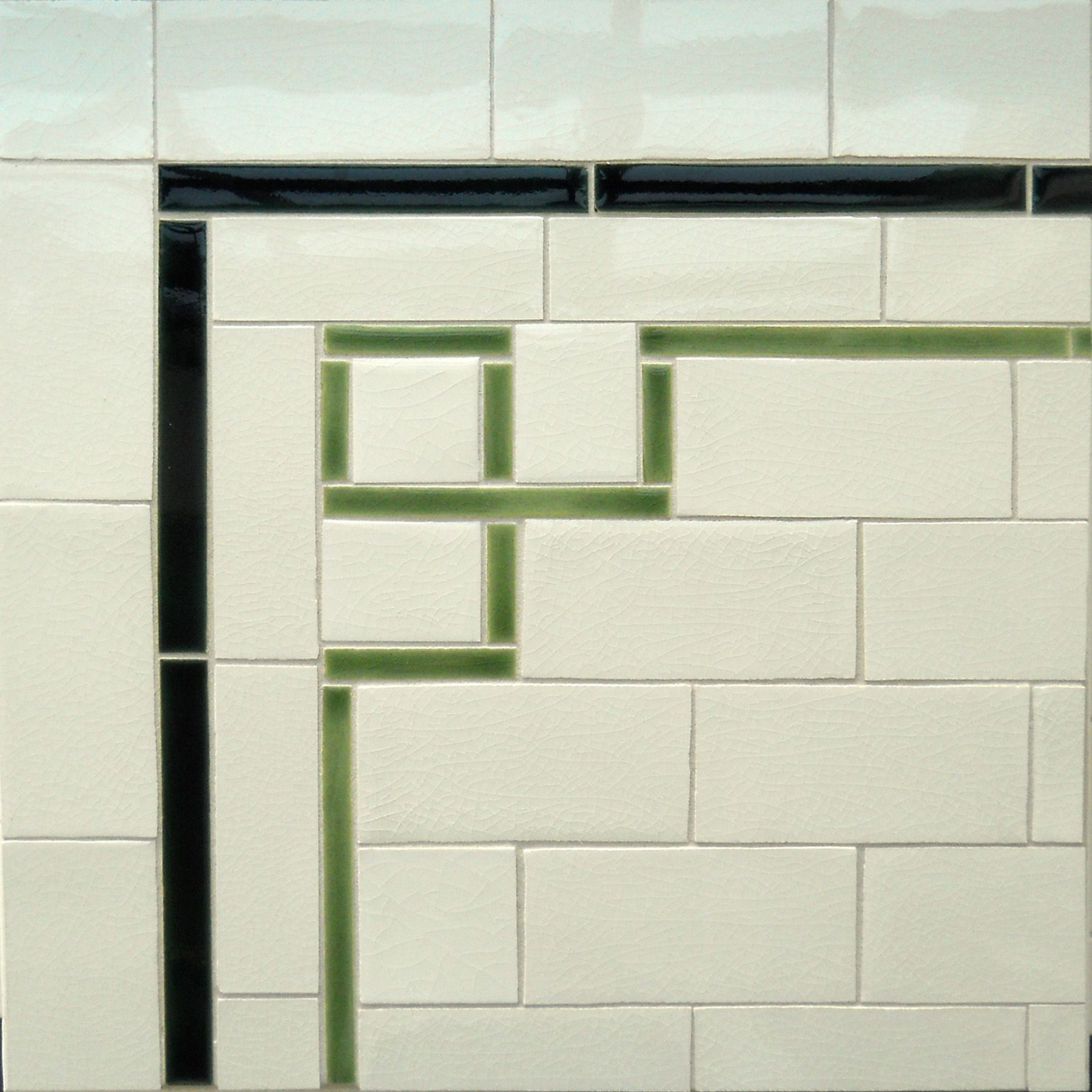 Original link is gone. A fancy corner detail to dress up subway tile