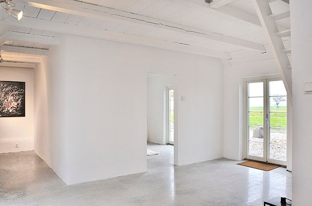 White Wash Walls And Ceiling With Concrete Floor