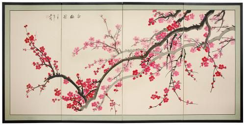 Japanese Silk Paintings Spring Blossoms Cherry Blossom Wall Art Blossoms Art Japanese Art